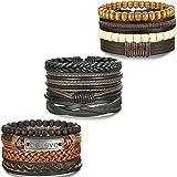 BESTEEL 12PCS Bracelets Cuir pour Homme Femme Unisexe Perle en Bois Corde Tressé...