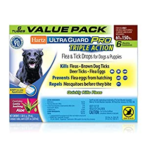 Hartz UltraGuard Pro Topical Flea & Tick Prevention for Dogs and Puppies, 61-150 lbs 6 Monthly Treatments