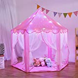LOJETON Princess Tent for Girls Large Playhouse Kids Castle Play Tent with LED Star Lights, Girls Dream Tent for Indoor Outdoor Games - 55'' x 53''(Pink)