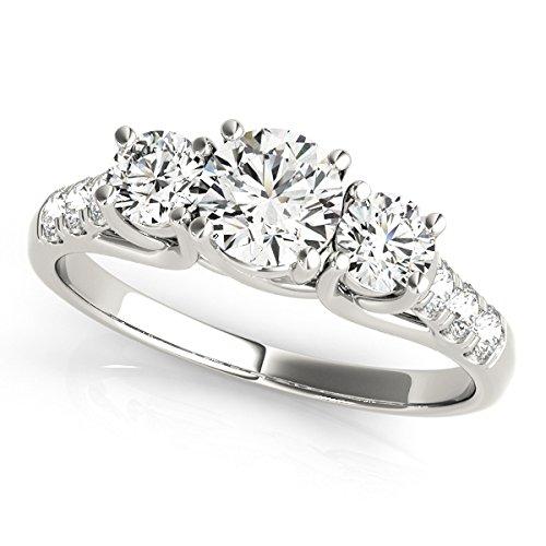 2,10Ct corte redondo anillo de compromiso de diamantes Moissanite 14K oro blanco diamantes H-I diamantes claridad SI1diamante excelente solitario anillos de boda tamaño J K L M N O P Q R S T