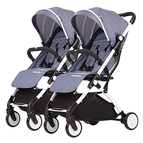 Poussettes JCOCO Double Chariot bébé, jumelle, Enfant détachable, Chariot portatif léger d'alliage d'aluminium de Chariot portatif léger de Chariot ( Color : Un Jean Bleu )