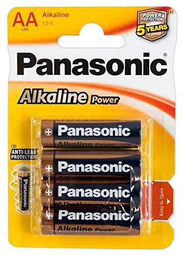 Panasonic POWER LR6 AA 43741 - Pack de 4 pilas alcalinas, color azul, dorado