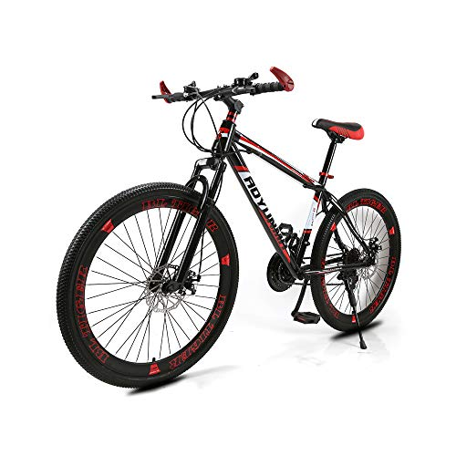 Adult Mountain Bike, 26-inch high-Carbon Steel Band disc Brakes, 21-Speed Full Shock Absorber Shock-Absorbing Off-Road Mountain Bike
