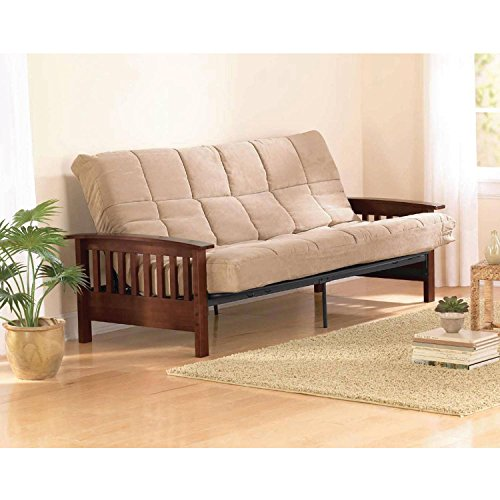 Better Homes & Gardens' Neo Mission Futon, Brown. Solid Wood Arm Futon with Walnut Finish. (Walnut Finish)