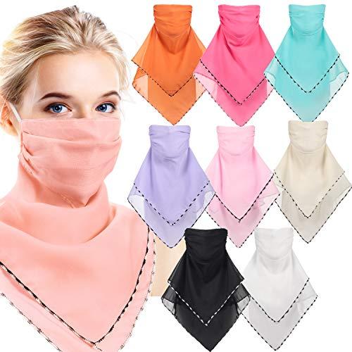 9 Pieces Chiffon Neck Gaiter Earloops Face Bandana Scarf Sun UV Protection Head Wraps for Women (White, Beige, Pink, Blue, Purple, Green, Black)