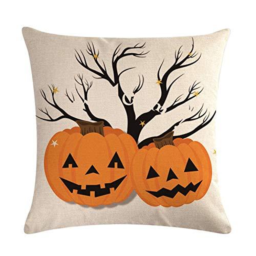Huwaioury Halloween-Kissenbezug, dekorative Baumwollleinen, Buchstaben, Gespenst Hand Haunted House Bedruckt Party Home Sofa Couch Kissenbezug 13