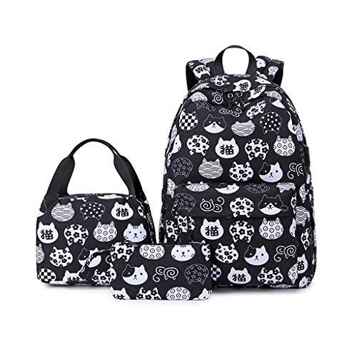 3 x Rucksack mit niedlichem Katzen-Druck, leicht, für Schüler, wasserabweisend, Kinderrucksack