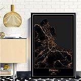 Bild Auf Leinwand,Nordeuropa Moderne Schwarze Goldene Karte