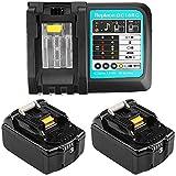 2 baterías de repuesto Makita de 18 V y 5 Ah, con cargador para baterías Makita BL1850, BL1840, BL1830, BL1820, BL1815 y BL1860