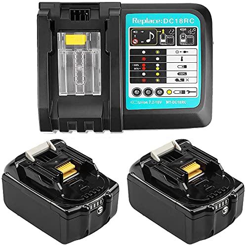 2 Stück 18V 5.0Ah Ersatz Makita akku mit Ladegerät für Makita 18V akkus BL1850 BL1840 BL1830 BL1820 BL1815 BL1860 Werkzeug Akku