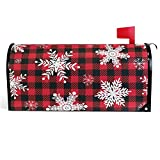 Vdsrup Buffalo Plaid Snowflakes Mailbox Covers Magnetic Winter Christmas Mailbox Cover Red Check Mailbox Wraps Post Letter Box Cover Garden Decoratives Standard Size 18' X 21'