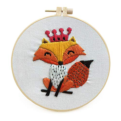Maydear Stamped Embroidery Kit for Beginners with Pattern, Cross Stitch kit, Embroidery Starter Kit Including Embroidery Hoop, Color Threads and Embroidery Scissors - Crown Fox