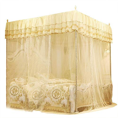 KSTE Luxury PrincessThree Side Openings Post Bed Curtain Canopy Netting Mosquito Net Bedding (L)