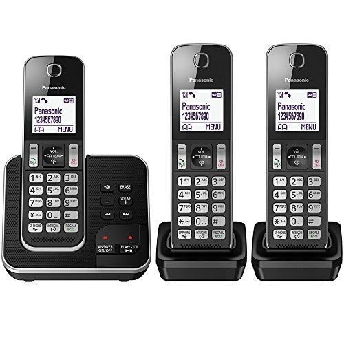 Panasonic KX-TGD323 Cordless Home Phone with Nuisance Call Blocker and Digital Answering Machine - Black & Silver (Pack of 3)
