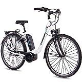 CHRISSON 28 Zoll Damen Trekking- und City-E-Bike - E-Cassiopea Weiss - Elektro Fahrrad Damen - 7G Shimano Nexus Nabenschaltung - Pedelec
