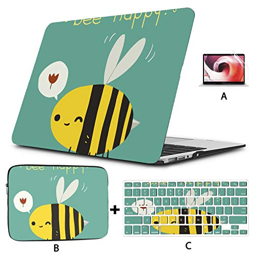 Case Macbook Pro Bee Happy Postcard Icon Vector Greeting Protective Macbook Pro Case Hard Shell Mac Air 11'/13' Pro 13'/15'/16' With Notebook Sleeve Bag For Macbook 2008-2020 Versi
