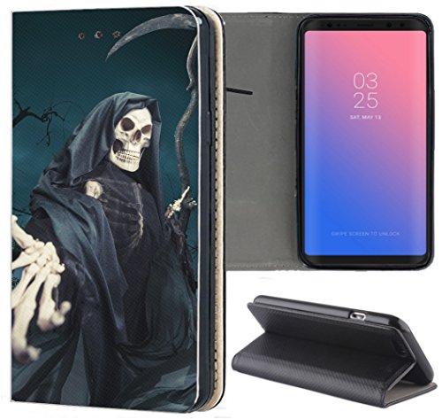 KX-Mobile Samsung Galaxy A51 Hülle - Handyhülle für Samsung Galaxy A51 - Handycover aus Kunstleder Motiv 1332 Sensenmann Totenkopf Skull Bones Schutzhülle Smart Klapphülle Hülle