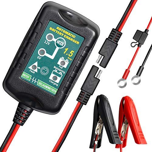 Tesure Autobatterie Ladegerät 6V und 12V batterieladegerät kfz Vollautomatisches Intelligent Ladegerät 1.5A Erhaltungsladegerät für Auto Motorrad KFZ LKW PKW Boot und Wohnmobil