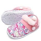 Toddler Girls Boys Winter Fur Lined Indoor Walking Shoes Plush Warm House Slippers Slides Pink Toddler Size 3.5-4