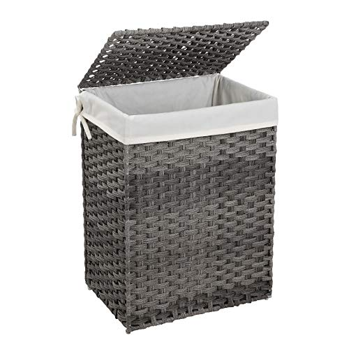 SONGMICS Handwoven Laundry Basket, 90L Synthetic Rattan Wicker Clothes Hamper with Lid and Handles, Foldable, Removable Liner Bag, Stable Iron Frame, Gray LCB51WG