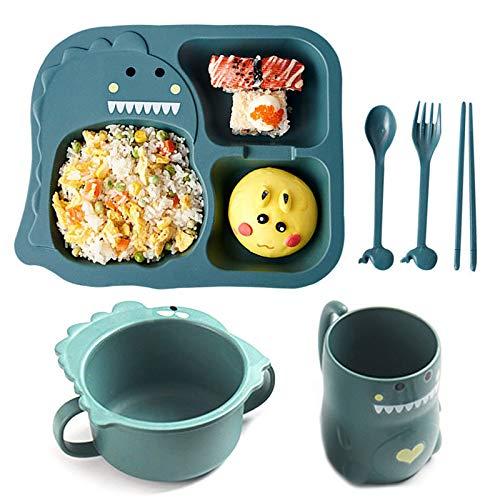 Besylo Set di stoviglie per bambini, 6pcs Stoviglie con bambini piatto ciotola tazza cucchiaio forchetta, cartone animato piccolo dinosauro, stoviglie in paglia di grano sano (verde)