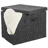 mDesign Caja organizadora mediana con tapa y asa  Organizador de armario apilable en polister con...