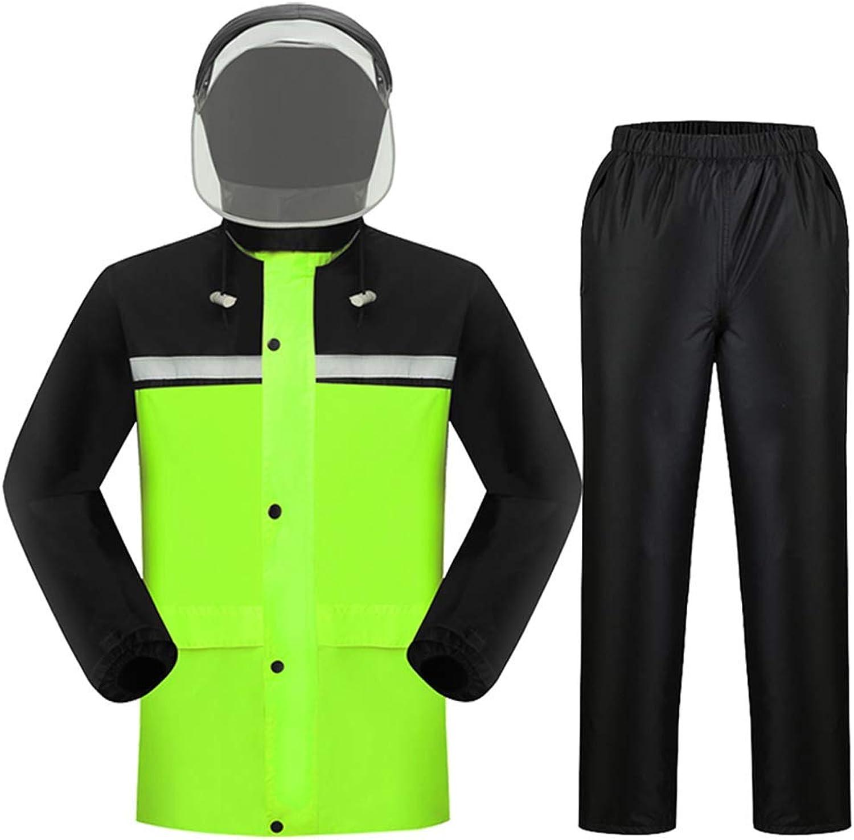 Adult Fashion Suit Regenmantel Reflektierender Streifenschutz Regenfest und atmungsaktiv Grünckter Regenhut Abriebfestes Fluoreszierendes Grün Radfahren Klettern