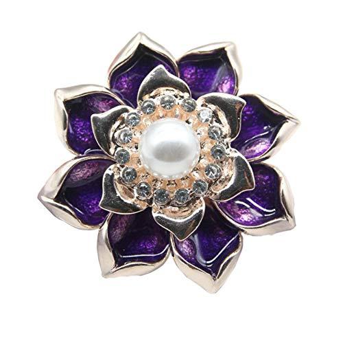 NA Flores púrpuras con imitación Blanca Perlas Perlas Broche Vestido Abrigo decoración...