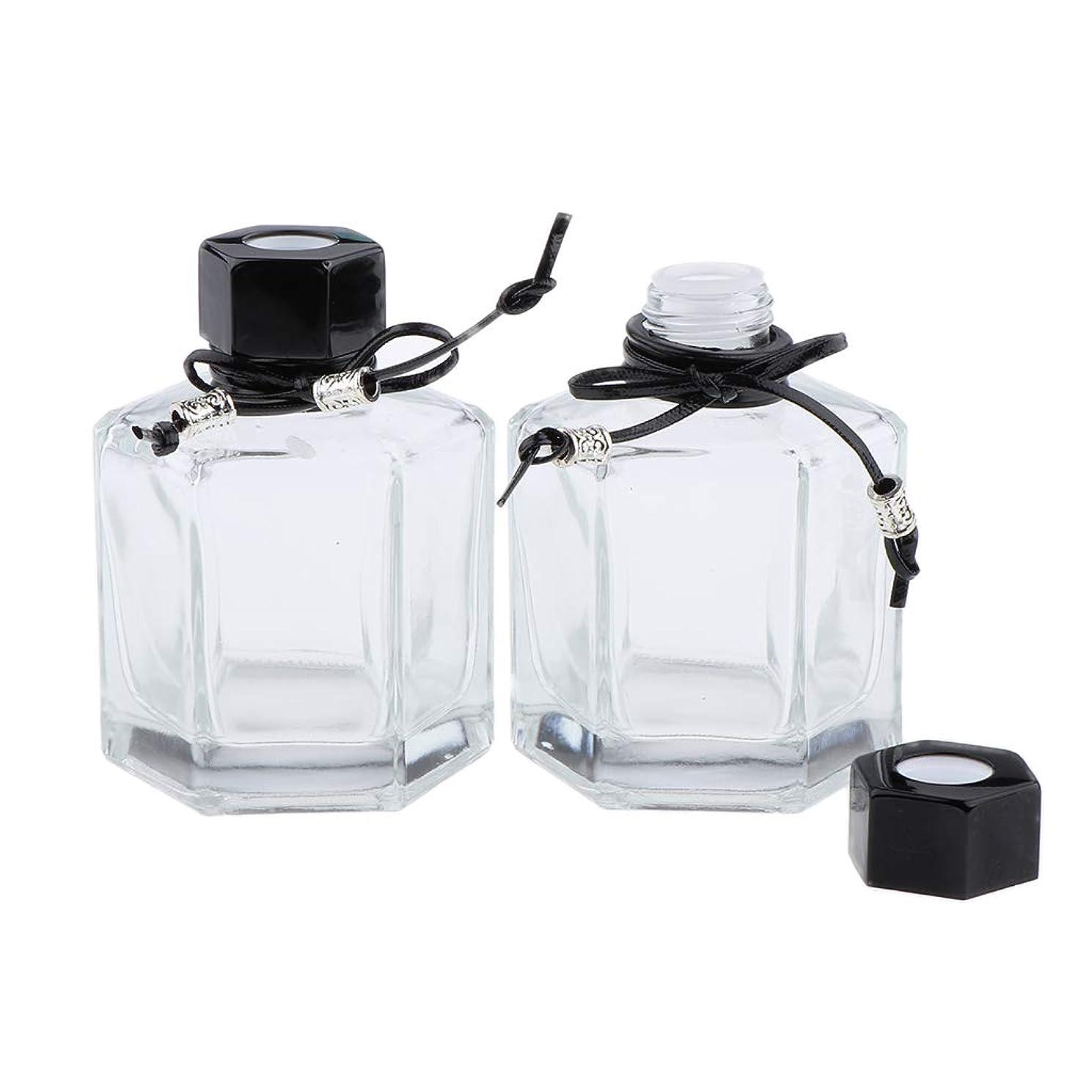 郵便屋さん抑圧者事Toygogo 香水ボトル ガラス 香水瓶 ディフューザーボトル エッセンシャルオイル ボトル 2色選べ - ブラック