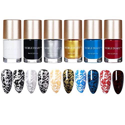 NICOLE DIARY 6Pcs Nail Stamping Polish Gold Silver White Black Red Blue Nail Plate Polish Varnish for Manicure Printing