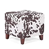 Adeco Simple British Style Cube Ottoman Footstool, 16x16x16, Brown (Cow Print)