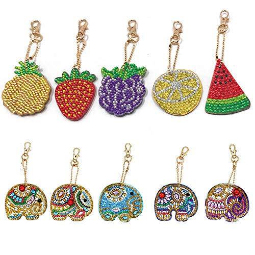 5D DIY Key Chain Set Full Drill Diamond Painting Kits for Adults, Kids Bag Decoration, Charm Backpack, Shoulder Bag Fruit and Color Icons 10 Pcs by Megei