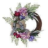 VALICLUD Fiore di Primavera Corona Vintage Porta in Rattan Corona con Rustico Tela Archi di Nozze Porta Appeso Ghirlanda 50X45cm