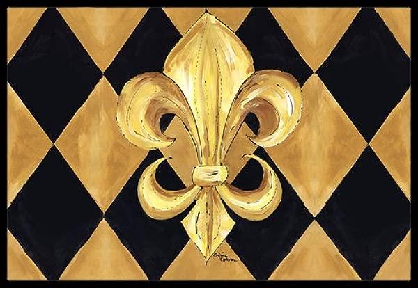 Caroline S Treasures Black And Gold Fleur De Lis New Orleans Indoor Or Outdoor Doormat 24 X 36 Multicolor