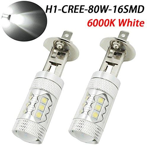 TABEN Lot de 2 ampoules LED H1 extrêmement lumineuses pour feux de brouillard ou feux de brouillard, 80 W, blanc xénon