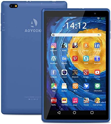 Tablet 8 Pollici, Android 10.0 Google Certificazione GMS 3GB RAM+32 128GB ROM, Tablet con Fotocamera da 5MP 1280 * 800 IPS, Quad-Core 1.6Ghz GPS, Bluetooth, Wi-Fi (blu)