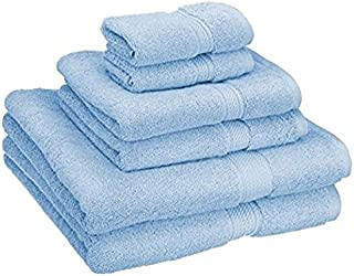 Superior 900 GSM Luxury Bathroom 6-Piece Towel Set, Made Long-Staple Combed Cotton, 2 Hotel & Spa Quality Washcloths, 2 Hand Towels, and 2 Bath Towels - Light Blue