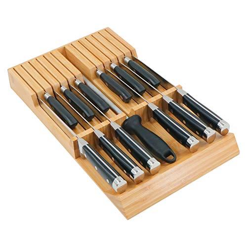 Utoplike Organizador de cajón de cuchillos de cocina de bambú con mango grande, sin cuchillos, apto para 12 cuchillos y 1 acero de afilar