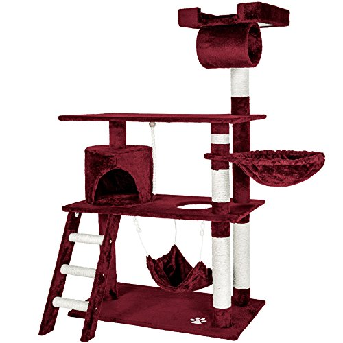 TecTake 800294 Katzen Kratzbaum mit vielen Kuschel- und Spielmöglichkeiten, 141cm hoch, extra breit - Diverse Farben - (Weinrot | Nr. 401856)