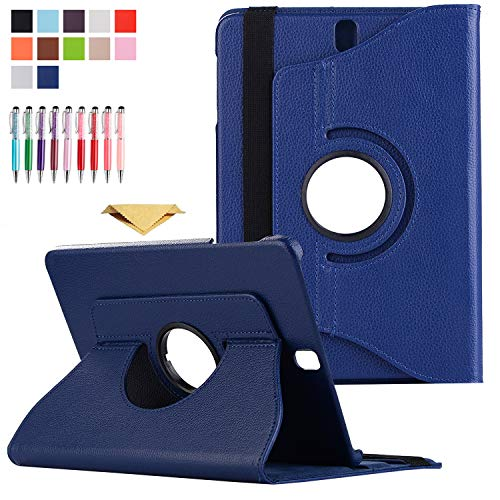 QYiD Galaxy Tab 4 7.0 Case SM-T230, Slim Folding PU Leather 360 Degrees Rotating Stand Case with Auto Sleep/Wake Feature for Samsung Galaxy Tab 4 7-inch Tablet, Models SM-T230, SM-T231, SM-T235, Blue