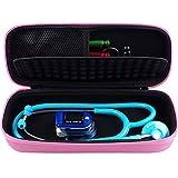 Stethoskoptasche - harte Tragetasche für 3M Littmann Stethoskop Stethoskop mit Schaumstofffach - inkl. Netztasche für Zubehör rose