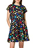 Love Moschino Women's Fleece Dress Allover Multicolor Symbols Print, with Short Sleeves, Flared Skirt and Elastic Belt. Casual, All.Symbol F.ne, 14
