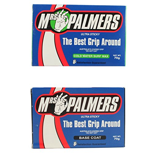 Mrs Palmers–1x Base Coat y 1x fría Agua Capa Superior Surfboard Wax