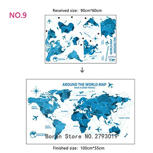 11 soorten muurstickers met wereldkaart voor grote wereld, cartoon, cartoon-map, decoratie voor de kinderkamer, muurstickers van vinyl, om zelf te maken No.9