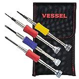 ベッセル(VESSEL) 精密ドライバーセット 4本組 (ケース付) スマホ修理用 Y型/ 5角 星型/ +00/ −2.3 TD-5154AP