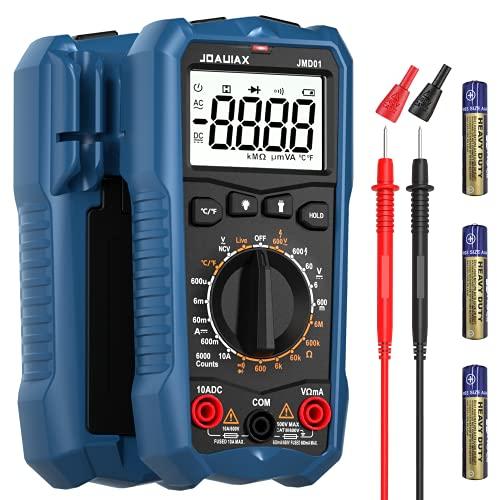 Multimetro Digitale JOAUIAX,6000 volte AC DC tester multicanale di tensione e corrente DC,voltmetro che misura temperatura resistenza continuità diodo e NCV salvataggio dati 2.2 LCD luce LED-JMD01