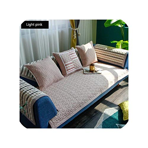 Green Plaid Four Seasons Sofa Towel Gray Couch Covers Peacock Pattern Beautifully Embroidered Sofa Cushion Sofa Cover for Corner Sofa Decor,Light pink,90x160cm 1pcs