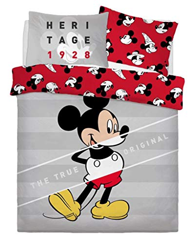 EHD Disney and Warner Bros Characters Duvet Cover Sets Luxurious Reversible Kids Adults Bedding Sets (Mickey Mouse True Original, Double)
