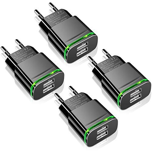 LUOATIP Cargador USB, 4-PACK 2.1A 5V Universal Doble Puertos Corriente Enchufe Movil de Pared Adaptador Replacement for iPhone 11 X Xs/Xs Max XR 8 7 6 6S Plus SE 2020 5S, Samsung S9 S8 S7, Android