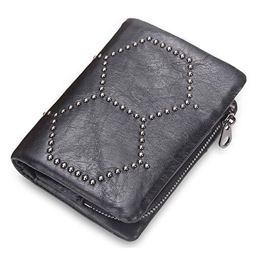 Y&M MY Monedero de Cuero extraíble Monedero Bolso de Embrague Bolsa con Tachuelas para Hombres Mujeres (Color : Black, Size : S) (Cocina)